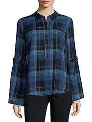 Saks Fifth Avenue Ruffle Sleeve Plaid Shirt Blue Black