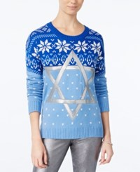 Hooked Up By Iot Juniors' Star Of David Holiday Sweater Davids Blue