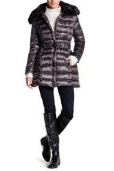 Dawn Levy Gabbi Faux Fur Trim Down Jacket Gray