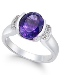 Macy's Amethyst 2 1 4 Ct. T.W. And Diamond Accent Ring In Sterling Silver