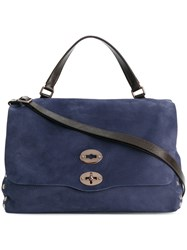 Zanellato Studded Tote Calf Leather Blue