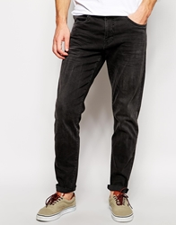 Solid Solid Low Crotch Black Jeans In Carrot Fit Jetblack