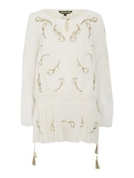 Biba Feather Embellished Longline Blouse Milk