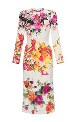 Blumarine Long Sleeve Floral Dress White Pink Yellow