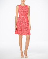 Jessica Howard Petite Polka Dot Fit And Flare Dress Bright Red
