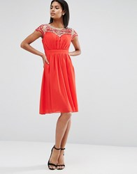 Little Mistress Embroidered Sweetheart Dress Red