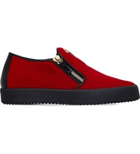 Giuseppe Zanotti Zipped Velvet Skate Shoes Red