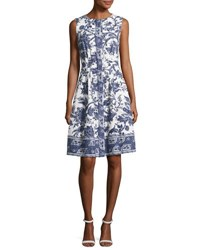 Oscar De La Renta Sleeveless Toile Print Cotton Dress White Pattern