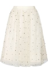 Alice Olivia Catrina Embellished Tulle And Organza Skirt Cream