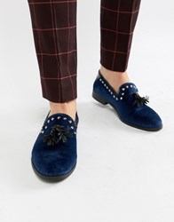 House Of Hounds Raptor Stud Tassel Loafers In Navy Velvet