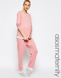 Asos Maternity Lace Trim Pyjama Set With Long Sleeve T Shirt And Trouser Pink