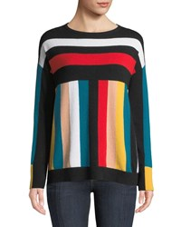 Neiman Marcus Cashmere Multi Stripe Boxy Sweater Blush Multi