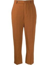 Rick Owens Cropped Tailored Trousers Brown