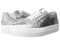 Just Cavalli Python Leather And Glitter Sneaker Gun Metal Women's Shoes Gray