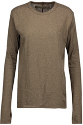 Enza Costa Cotton And Cashmere Blend Sweater Army Green