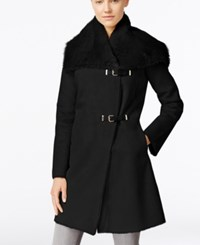 Calvin Klein Faux Shearling Buckled Walker Coat Black