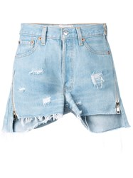 Forte Couture Distressed Denim Shorts Blue