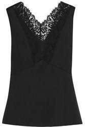 Dkny Lace Paneled Stretch Silk Satin Top Black