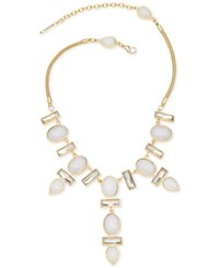 T Tahari Gold Tone And Opal Teardrop Stone Frontal Necklace