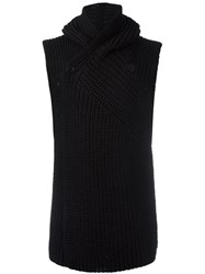Rick Owens Sleeveless Hooded Cardigan Black