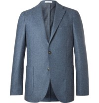 Boglioli Blue Slim Fit Melange Virgin Wool Blazer Light Blue