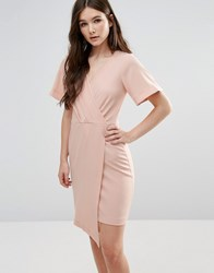 Closet London Cross Over Short Sleeve Wrap Dress Nude Pink