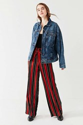 Urban Outfitters Uo Striped Satin Wide Leg Puddle Pant Orange