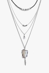 Boohoo Crystal Pendant Layered Necklace Silver