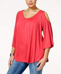 Ing Plus Size Cold Shoulder Top Coral