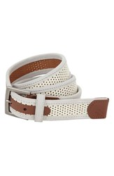 Men's Original Penguin 'Monte' Perforated Leather Belt White