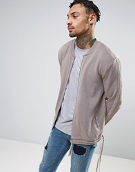 Asos Jersey Bomber Jacket With Taping And Drawcord Hem In Wash Evening Cloud Beige