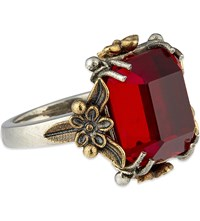 Alexander Mcqueen Ruby Flower Ring Silver Ruby 11 13 15