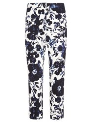 Viyella Rose Print Capri Trousers White Ink Blue