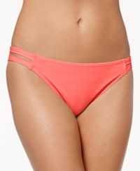 California Waves Strappy Hipster Bikini Bottoms Women's Swimsuit Guava Pink