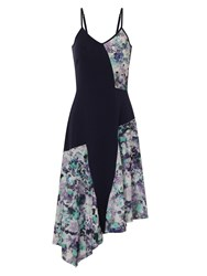 Hotsquash Floral Dress In Coolfresh Fabric Navy