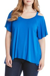 Karen Kane Plus Size Women's Flutter Cold Shoulder Top Cobalt