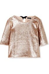 J.Crew Bianca Grosgrain Trimmed Sequined Crepe Top Metallic