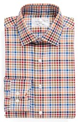 Lorenzo Uomo Men's Big And Tall Trim Fit Check Dress Shirt Orange Blue