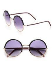 Cutler And Gross 54Mm Leather Trimmed Round Sunglasses Black