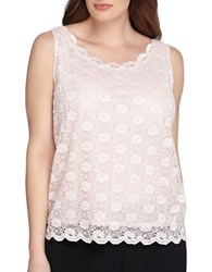 Tahari By Arthur S. Levine Plus Lace Sleeveless Tank Top Petal Pink