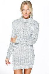 Boohoo Cable Knit Jumper Dress Grey