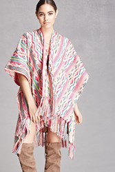 Forever 21 America And Beyond Fringe Shawl Pink Multi