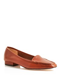 Bettye Muller Grained Leather Loafers Whiskey