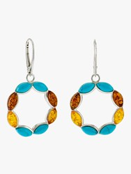 Be Jewelled Turquoise And Amber Circle Drop Earrings Silver Multi
