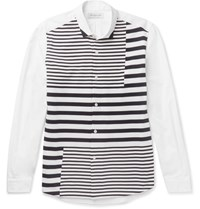 Tomorrowland Striped Tricot Panelled Cotton Poplin Shirt White
