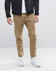 Pull And Bear Pullandbear Slim Fit Distressed Chinos In Tan Tan