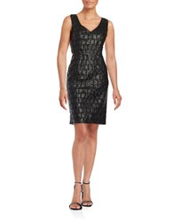 Nue By Shani Sleeveless Woven Faux Leather Sheath Dress Black