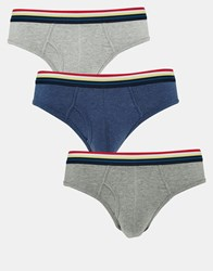 Asos 3 Pack Briefs With Stripe Waistband Save 20 Marlmulti