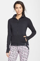 Trina Turk Recreation Jacquard Detail Front Zip Jacket Black