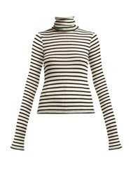 La Fetiche Biba Striped Roll Neck Wool Sweater Black
